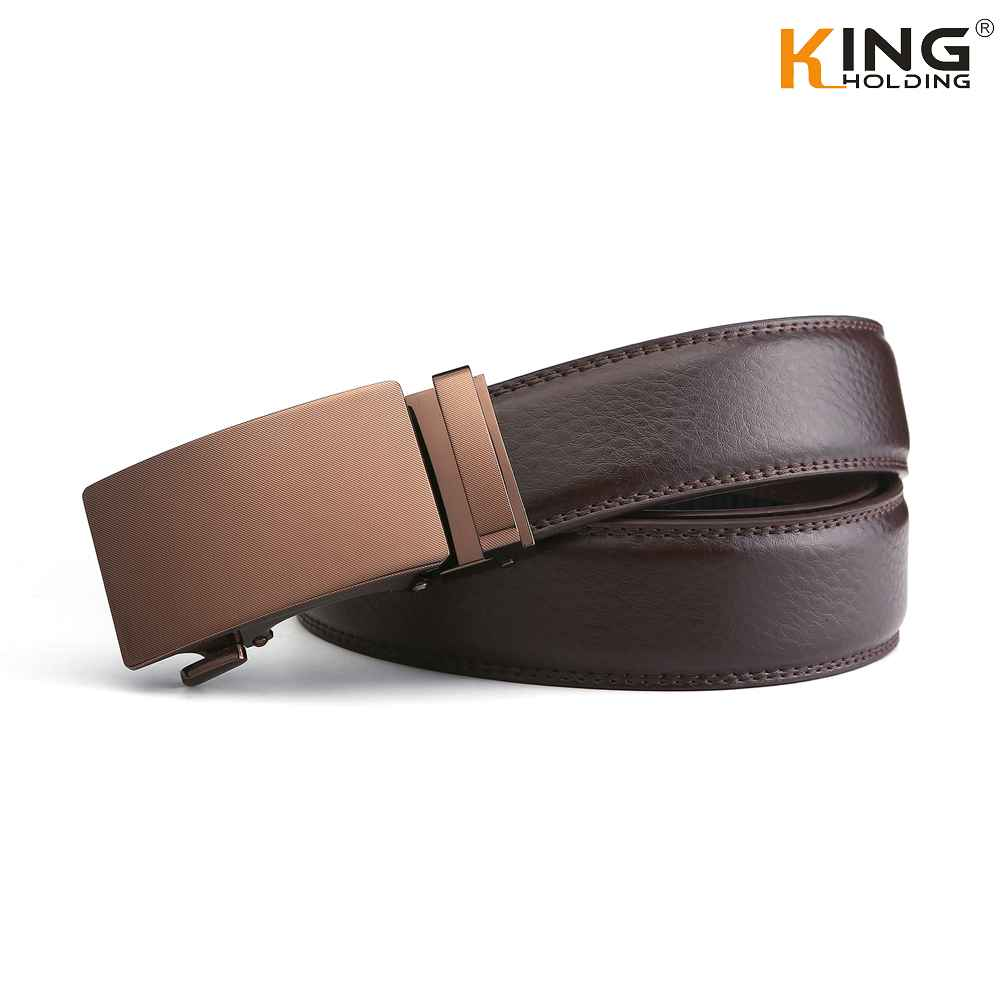 Men's Leather Dress Ratchet Belt With Automatic Slide Buckle ( Brown,Black)
