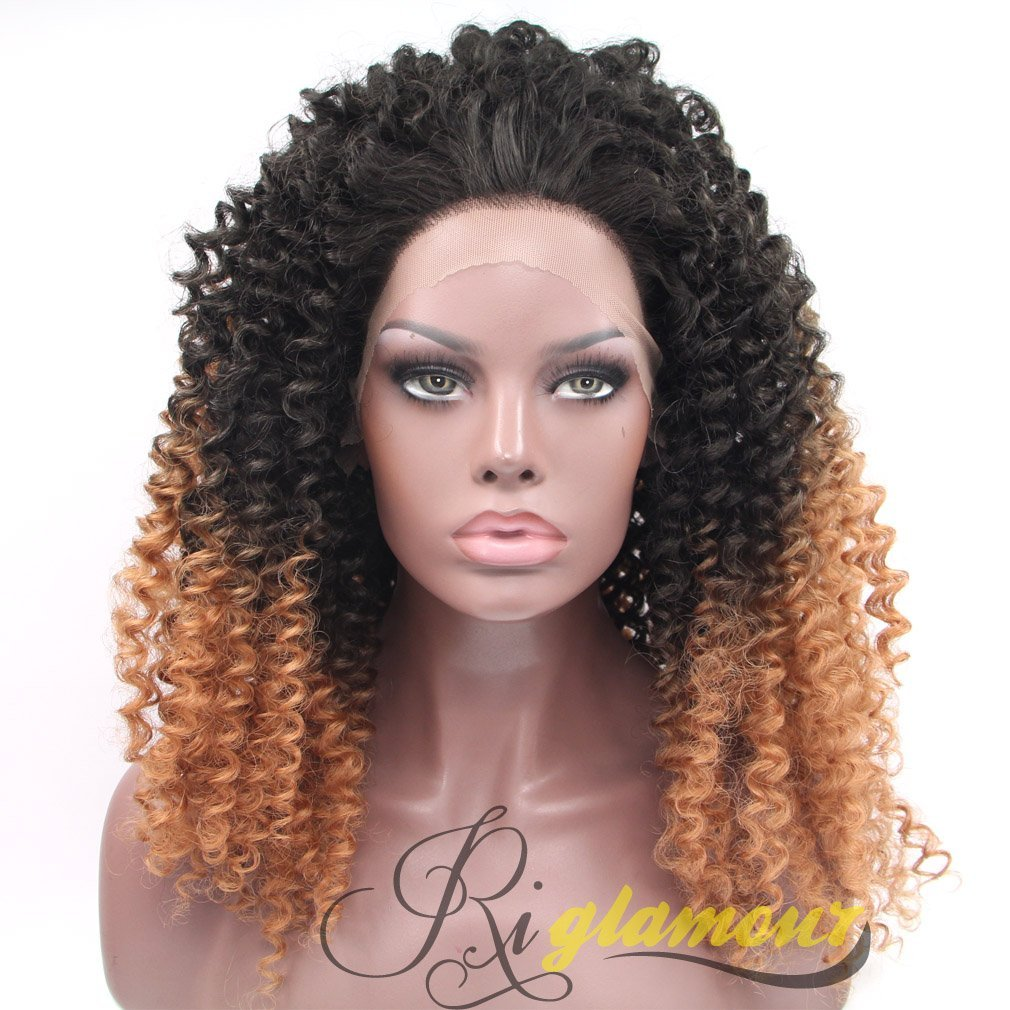 Get Quotations · Riglamour Synthetic Ombre Curly Wigs for Women Half Hand  Tied Lace Front African American Wigs Heat 1ab42711f