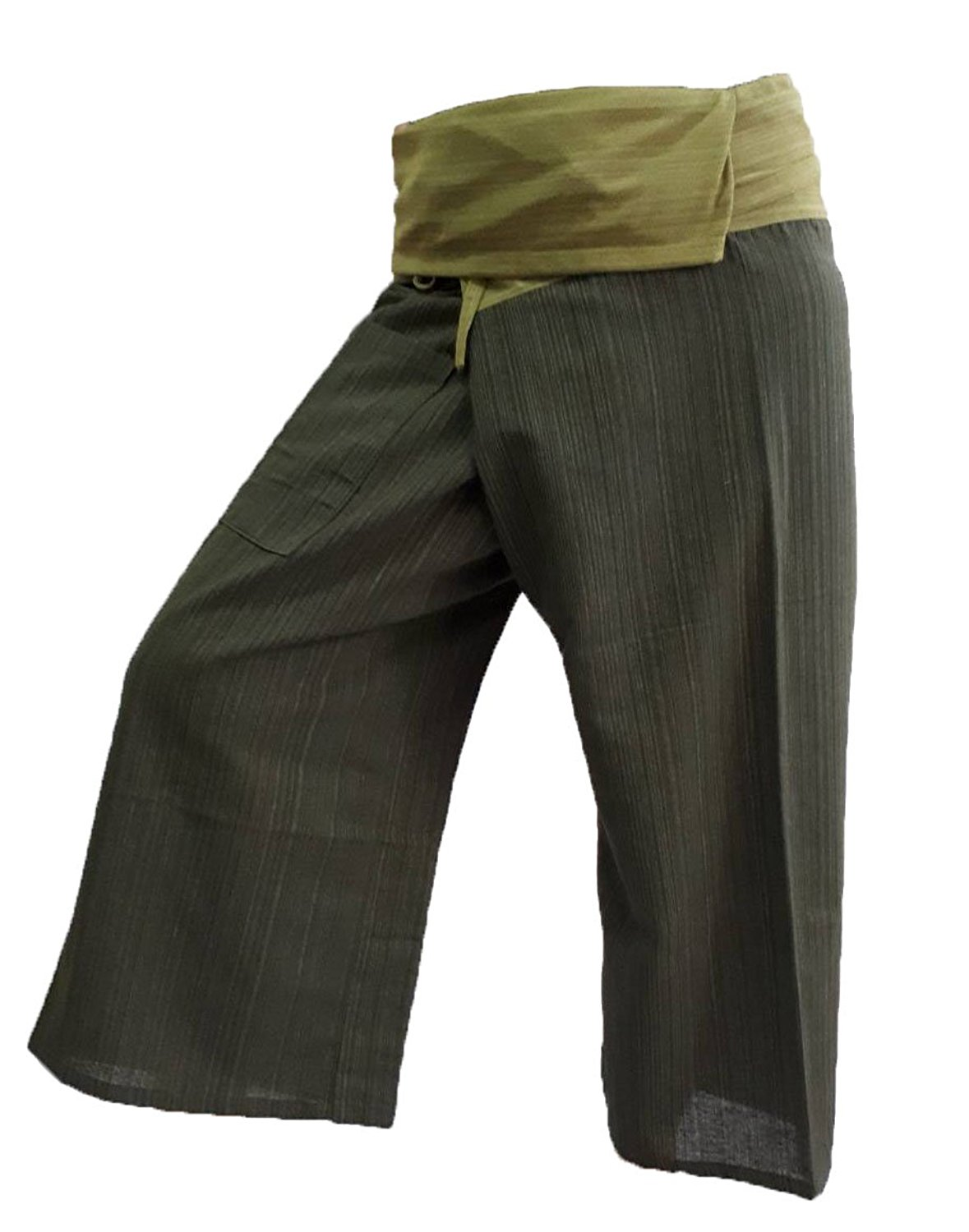 3a05fb9ab18 Get Quotations · BELLEZAS 2 Tone Thai Fisherman Pants Yoga Trousers Plus  Size Cotton Stripe (Green Dark