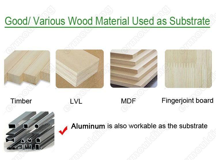 Veneer Wrapped Teak Wood Mouldings for Floor Skirting Board