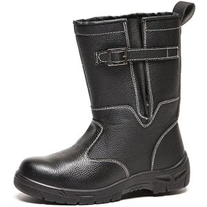 Black Steel Genuine Leather High Heel Safety Work Boots for Russia