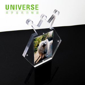 UNIVERSE wholesale clear mini 6x8 6x4 fridge magnetic picture box frame acrylic photo frame with water and glitter