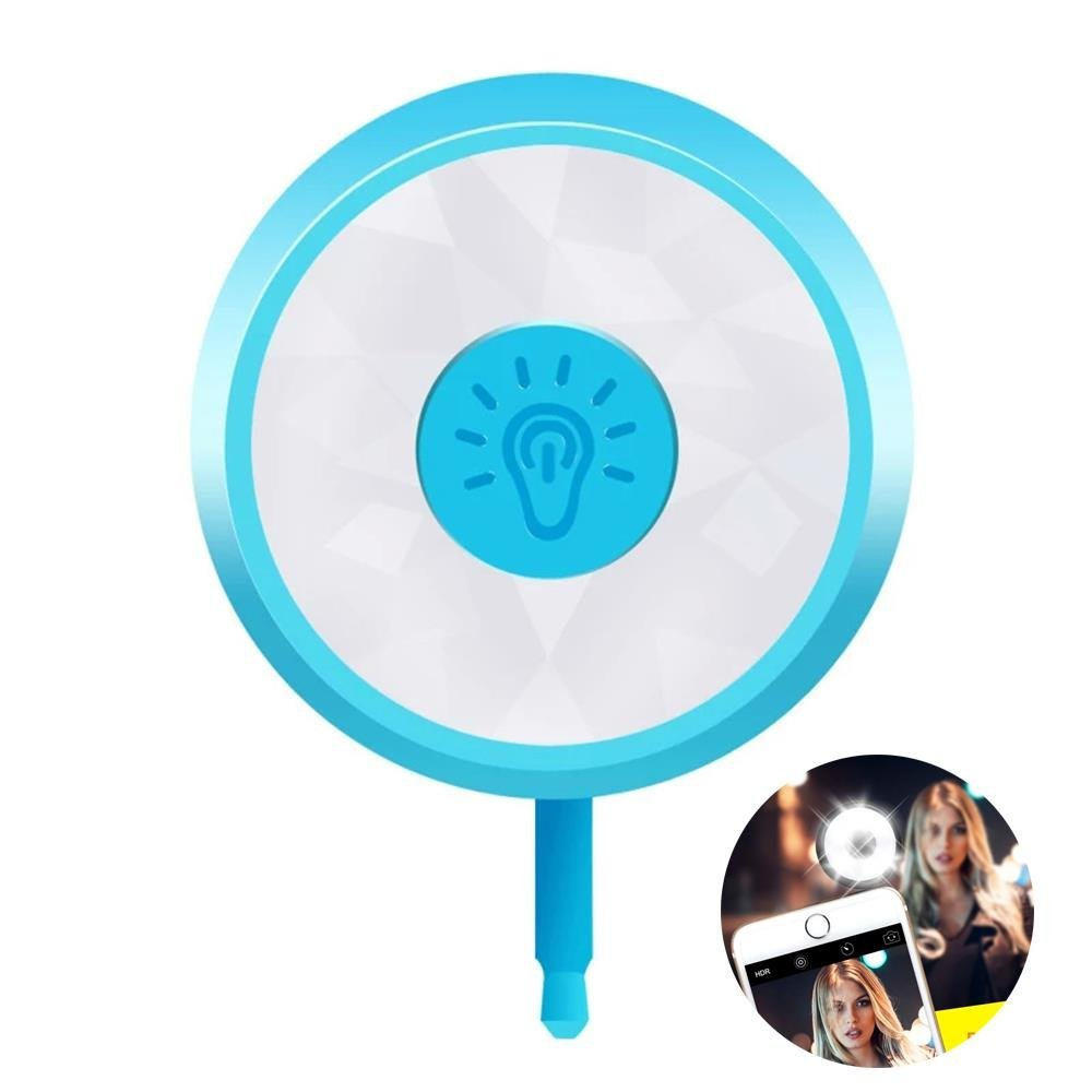 Selfie, Cellaria Glow Pro Series - 8 LED Selfie Ring Light Smartphone Fill-light Pocket Spotlight Photo Video Light Lamp for iPhone, Samsung, HTC, Nokia, iPad, Cellphone, Tablets, Blue