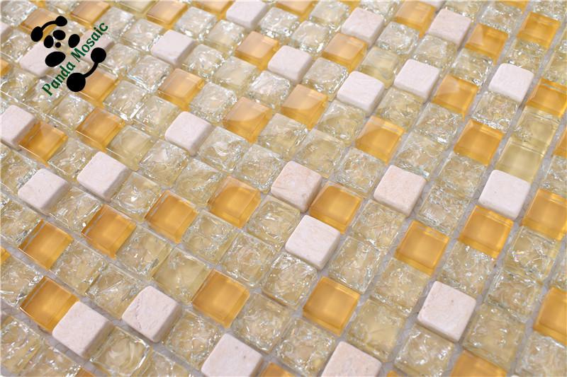 Sms03 gele en witte kleur kristal mozaïek glasmozaïek wandtegels ...