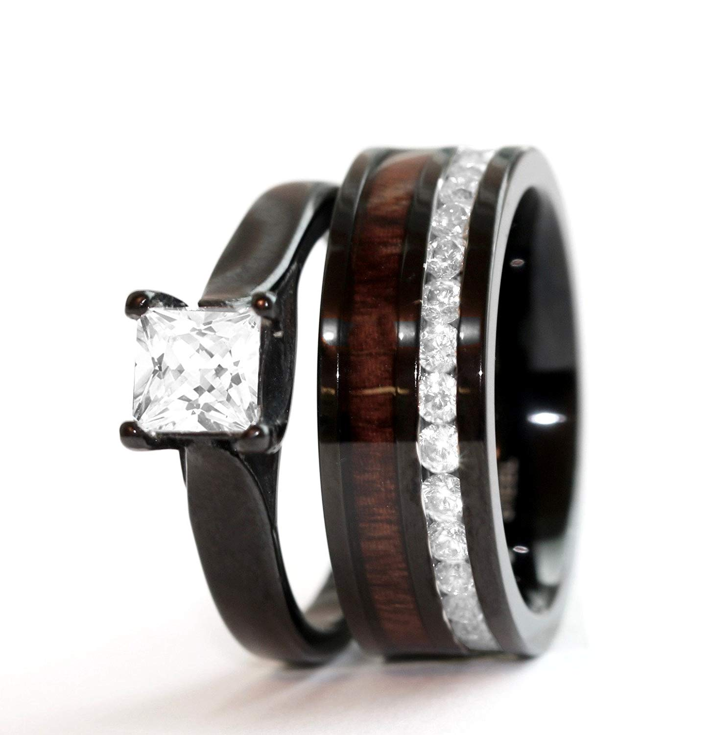Get Quotations 2 Pc Natural Koa Wood Black Stainless Steel Engagement Wedding Rings Set Cubic Zirconium Durable Band