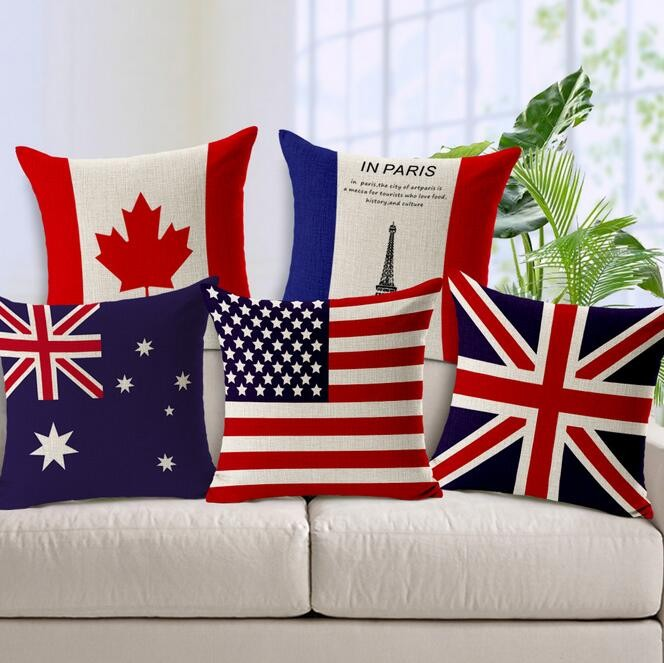D-0018 Designer Home Decor 45*45cm National Flag Square Throw Pillow Case Cushion Cover Linen