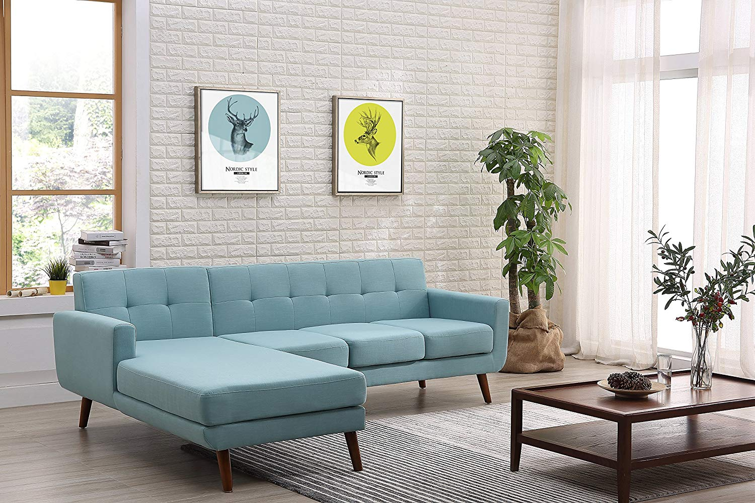 """Container Furniture Direct S0123L-2PC Andy Linen Upholstered Midcentury Modern Left-Sided Sectional Sofa, 69.29"""", Eton Blue"""