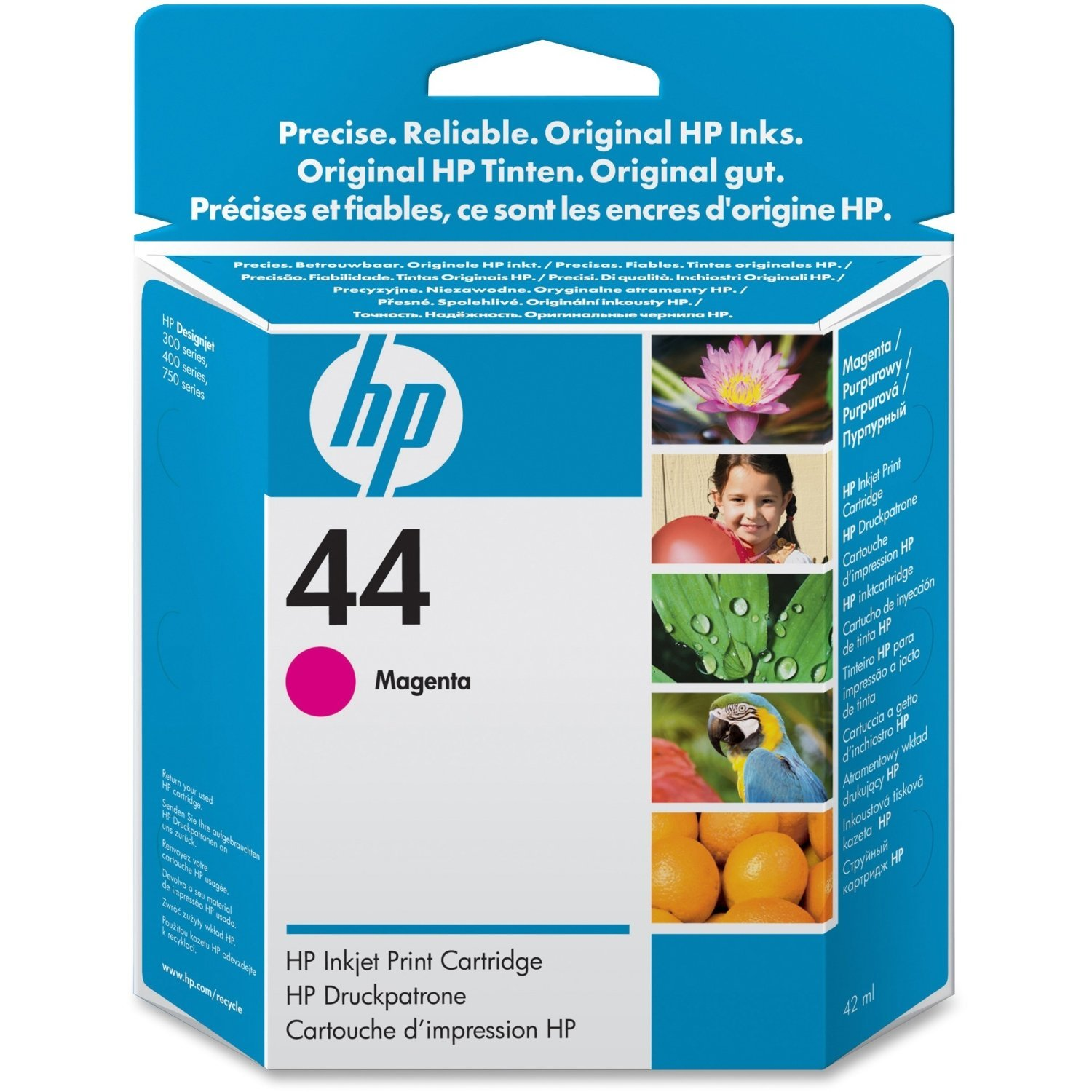 HP Products - HP - 51644M (HP 44) Ink, 1600 Page-Yield, Magenta - Sold As 1 Each - Fade- and smudge-resistant ink. - Colors for high-impact prints. - Visible ink-level indicator warns when ink is low. - Specially designed to work on a variety of HP Designjet printing material. -