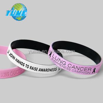Custom Debossed Lung Cancer Awareness Silicone Wristbands Bracelet Factory Directly