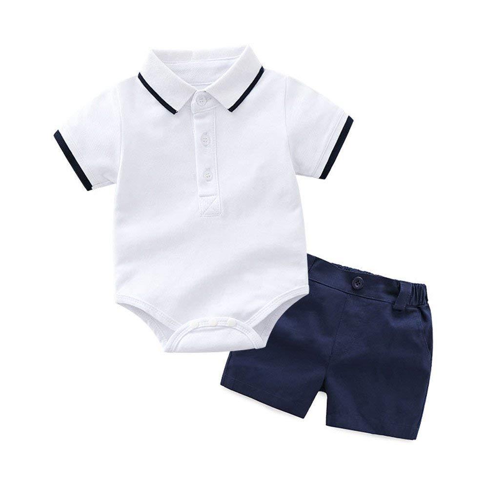 Moyikiss Studio Summer Baby Boys Gentleman Suit Romper Shirt + Shorts Formal Outfits Set