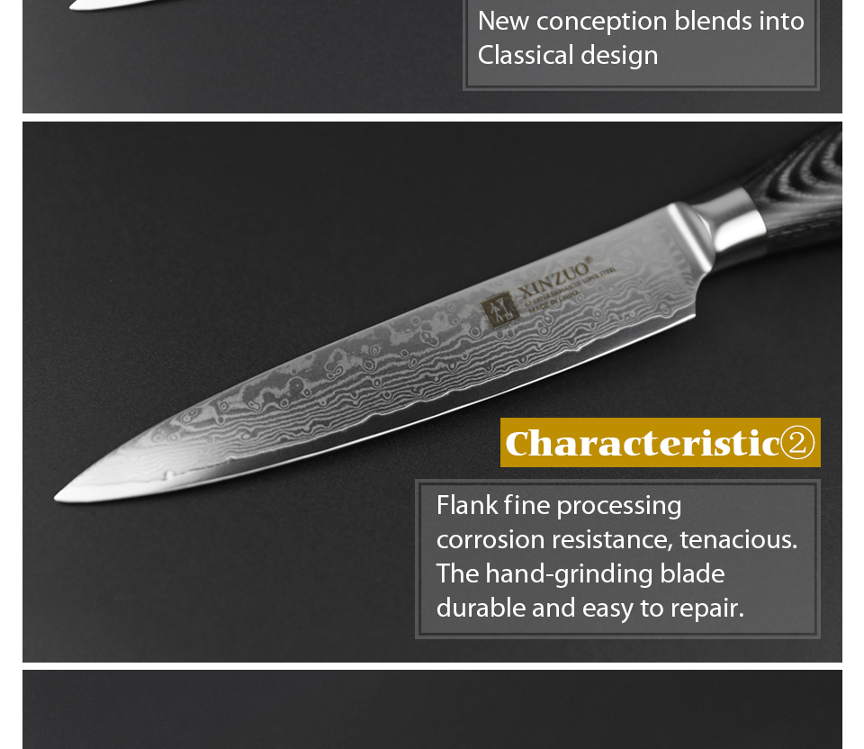 "HTB1Bu1bg vI8KJjSspjq6AgjXXaD - 5""inch Utility Knife 67 Layers Japanese Damascus Steel Kitchen Knife Sharp"