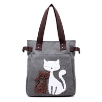 Korean Simple Casual Tide Creative Women Single Shoulder All-Match Portable Cute Cat Handbags For Party Canvas Tote Bag