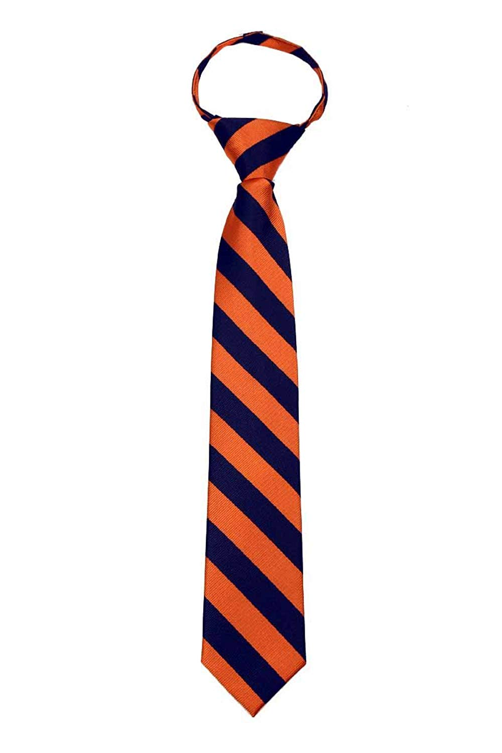 College Stripe Repetitive Boys Youth Zipper Necktie Schools Traditional Zip Ties - Many Colors Available