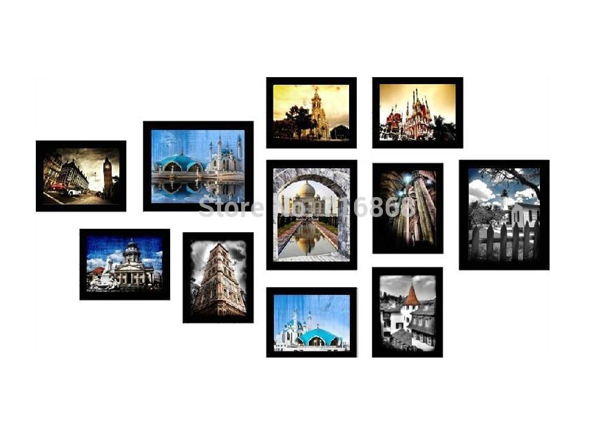 SM 11A B Wood Black Color 11Pcs Creative Combination Wall