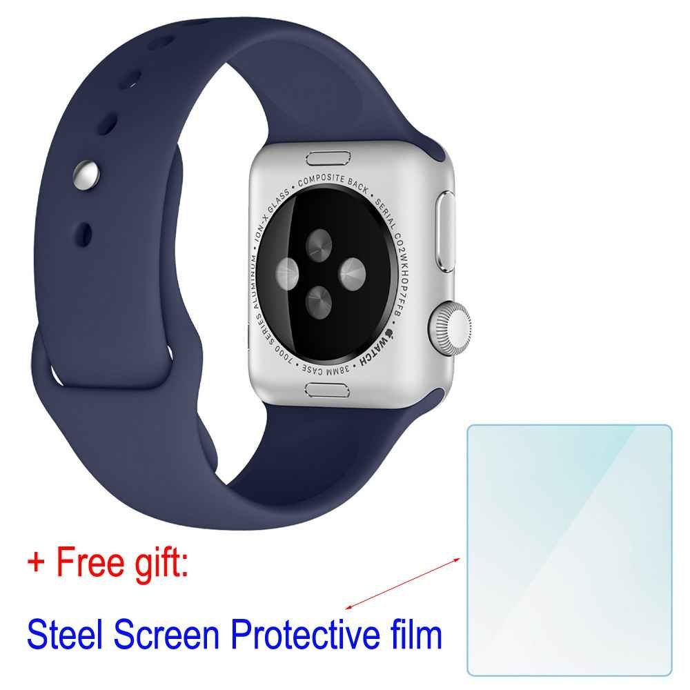 ZhenYue 42mm Soft Silicone Sport Style Replacement Strap Bands for Apple Wrist Watch Iwatch Series 1 Series 2 Band (Midnight Blue S+M)+Free Steel Screen Protective Film