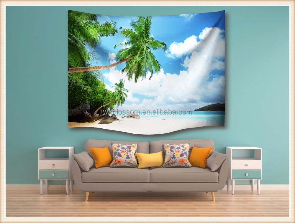 Nice fashion custom made digital printing polyester tapestry