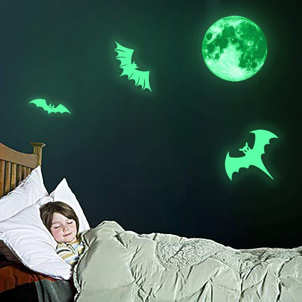 Proboths Creative Halloween Luminous Sticker Glow in Dark Removable Home Wall Decal Moon/&Bats Luminous Sticker