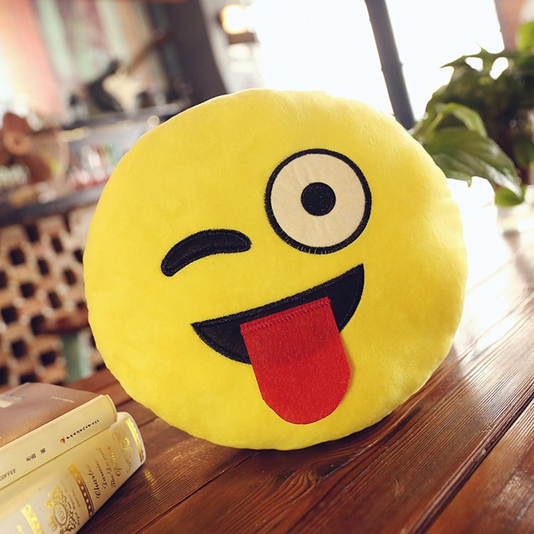 Free Sample 30cm Round Microbea Plush Emoji Pillow Stuffed Funny Shaped Pillow For Halloween Children Gifts