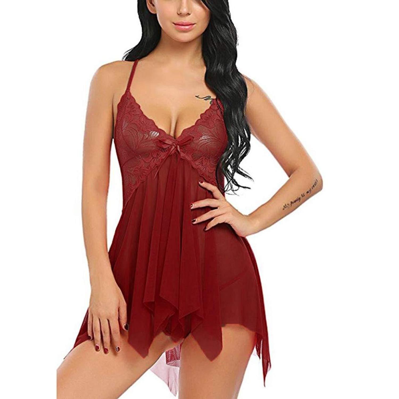 219d729795ca Women s Sexy Lingerie Flower Lace Underwear Babydoll V-Neck Strap Chemise  Sleepwear