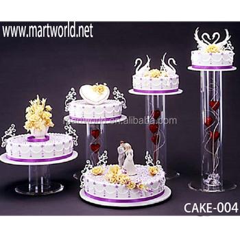 2019 Latest Wholesale Acrylic Tube Birthday Cake Stand Wedding Holders Decorations