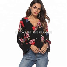 Explosion modelle Sexy Damen Langarm Floral Print Tiefer V Neck Chiffon Bluse