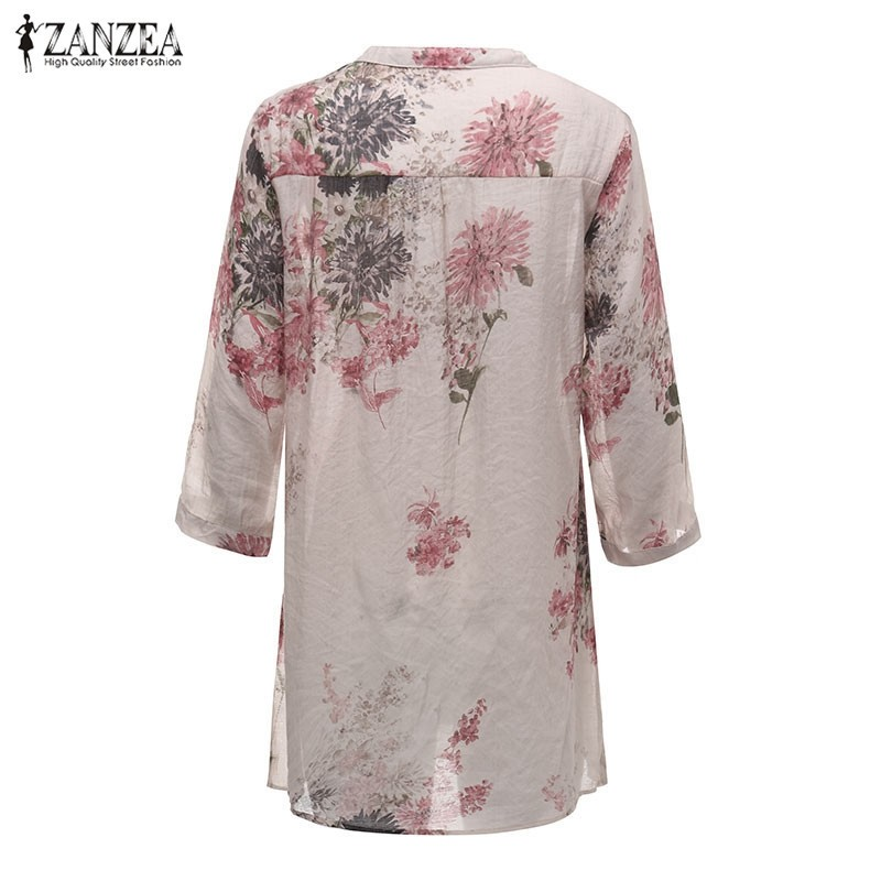 ZANZEA 2017 Summer Women Blusas Vintage Floral Printed Blouses Elegant 3/4 Sleeve Casual Loose Long Tops Shirts Plus Size