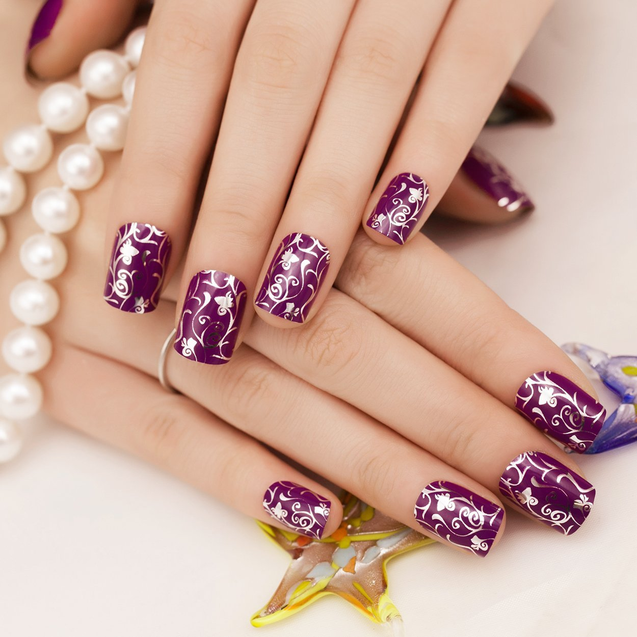 2019 year style- Silver and purple french nails photo