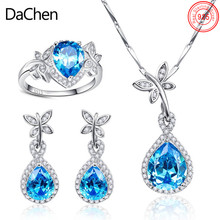 Luxury Fashion Pear Brilliance Cut Burma Blue Sapphire 925 Silver Jewellery Set