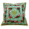 GREEN CUSHION COVER EMBROIDERED PATCHWORK PILLOW CASE HOME DECOR THROW INDIA