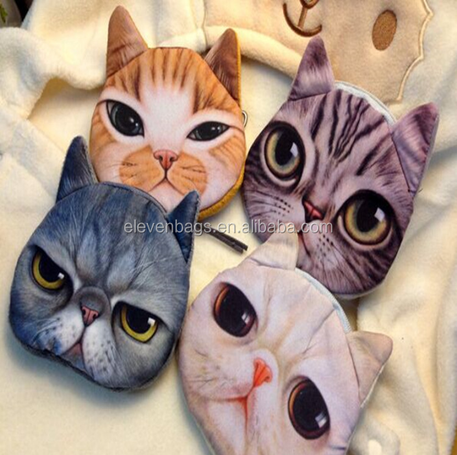 3D Animal Cat Coin Change Purse Wallet Print