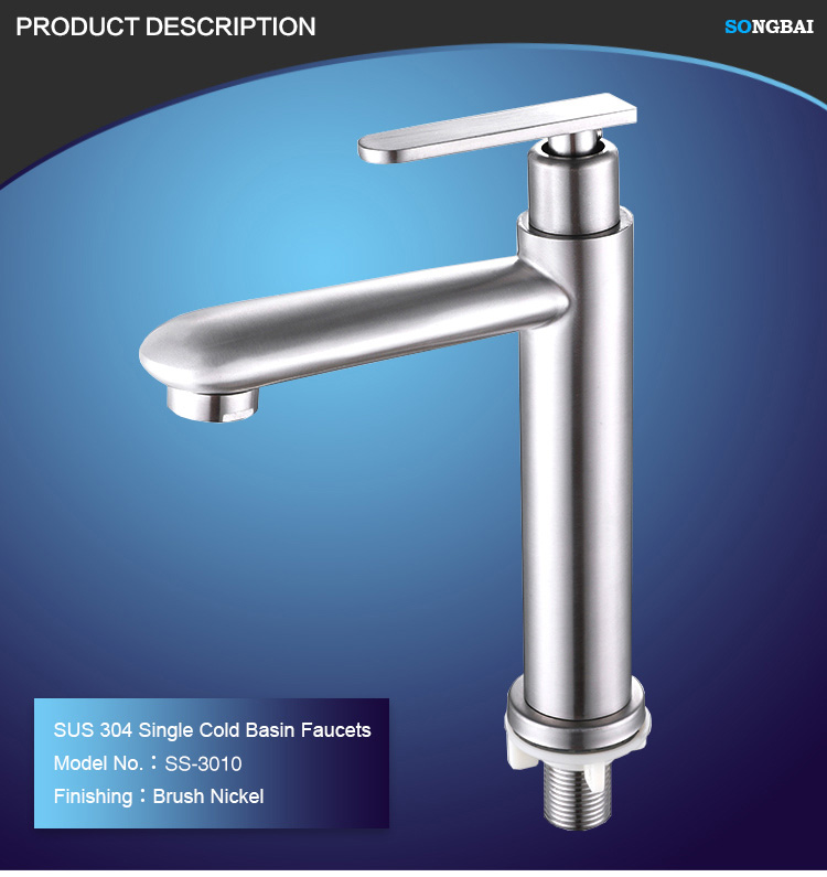 top quality 304 stainless steel single cold basin tap