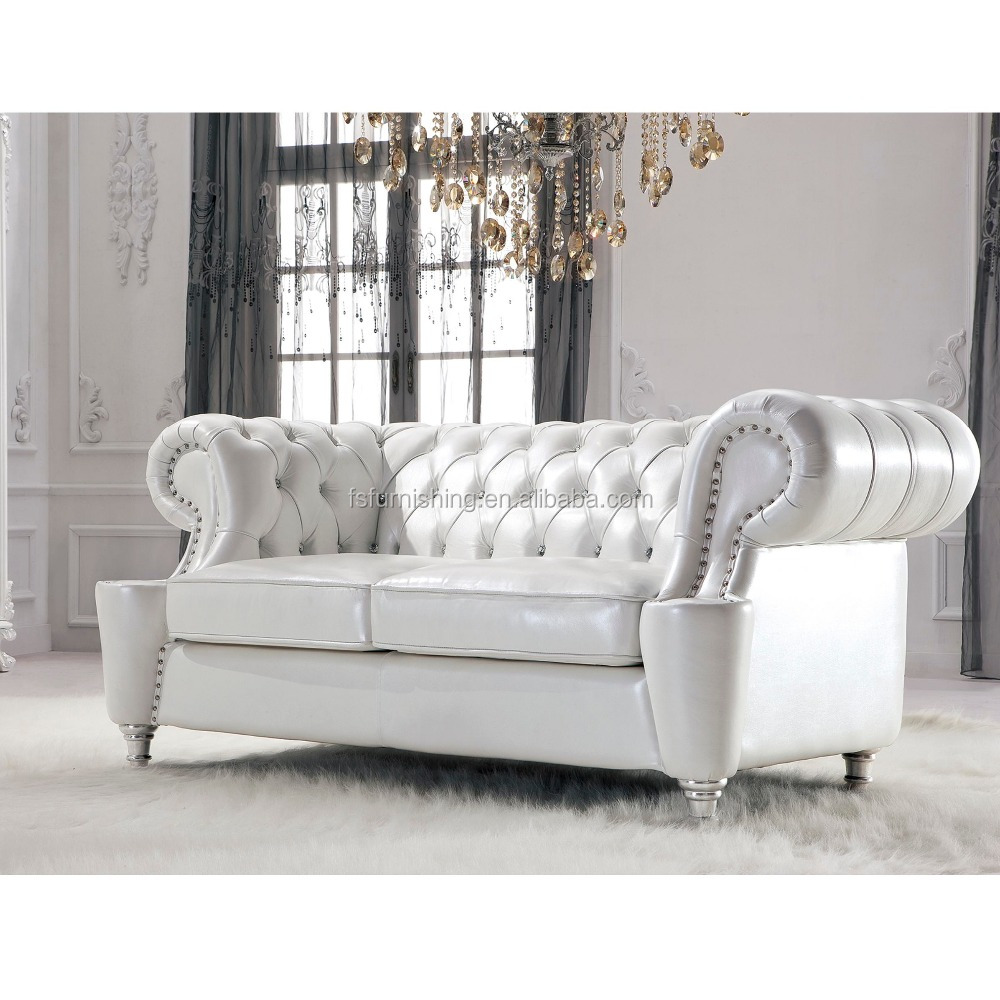 Jr307b Elegant White Pearl Shine Thick Leather Crystal Button French Style  Living Room Chesterfield Sofa Home Furniture Alibaba   Buy Elegant White ...
