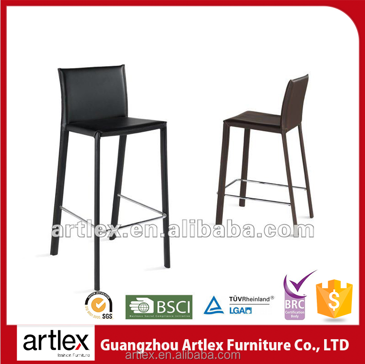 French style black stainless steel lab antique leather customize color 24 inch bar stools chair