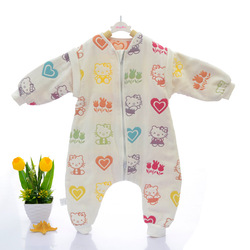 CHINA in stock wholesale 100% 6layer muslin cotton baby sleepsuit sleeping bags hello kitty pajamas for girls winter