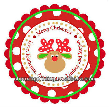 Polka dot reindeer personalized stickers christmas address labels holiday children kids