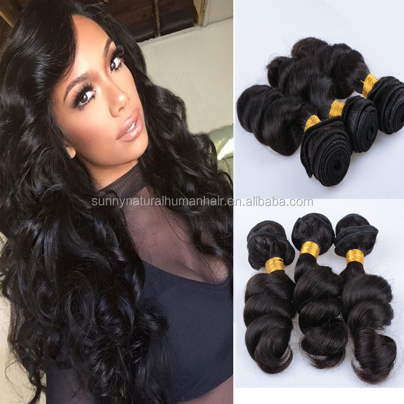 Virgin Hair Weave Loose Curly 3pcs Hair Bundles For Black Women