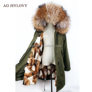 Raccoon fur collar coat and real fox fur lining thick womens winter parka coats