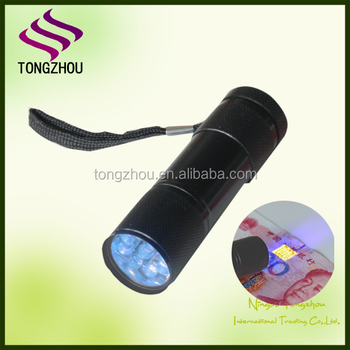 365-400nM battery Operated 9 LED Ultraviolet UV Flashlight