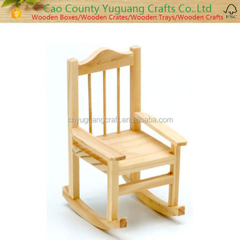 Wood Craft Unfinished Wood Miniature Rocking Chair