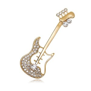 Fashion Jewelry Gold Tone Clear Crystal Musician Accessories Corsage Guitar Brooch