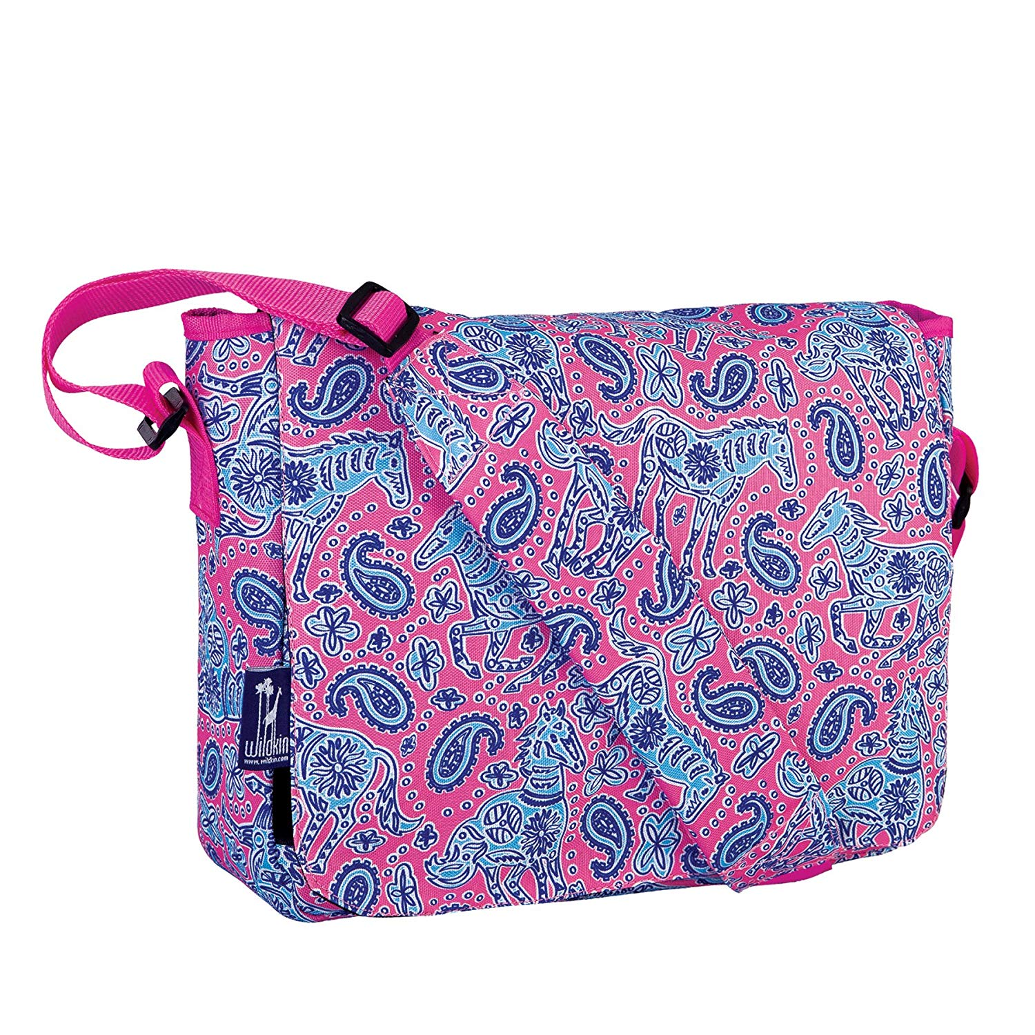 Messenger Bag, Wildkin 13 x 10 Inch Messenger Bag, Includes Interior and Exterior Pockets and Velcro Closure, Ages 8+, Perfect for School, Sports, and Day Trips – Watercolor Ponies Pink
