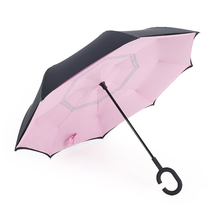 Print Logo Custom Made Factory Design Inverted Unique Rain Women Pink Reverse Umbrella