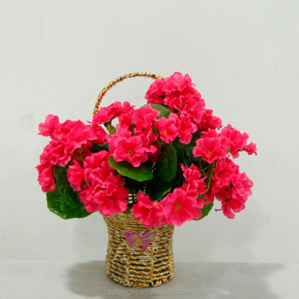 gros pas cher de mari e d corative fleur artificielle bouquet rose artificielle rouge g ranium. Black Bedroom Furniture Sets. Home Design Ideas