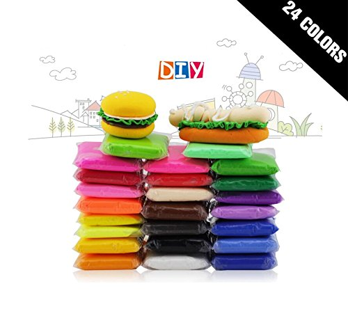 24 PCS BeautyMood Colorful Kids Ultra Light Modeling Clay Magic Air Dry Clay Artist Studio Toy 24 Bright Color,24 Colors No-Toxic Modeling Clay & Dough, Creative Art DIY Crafts.