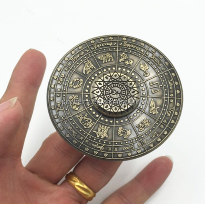 Brass fidget spinner toy with Chinese zodiac big circle design