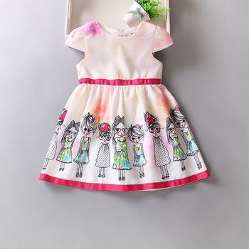 Bsd1666 New Arrival Kids Frock Designs Printed With Belt Children ...