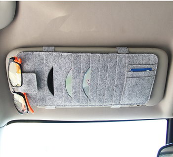 Wool Felt Sun Visor Organizer Hanging Point Pocket Car Storage Cd