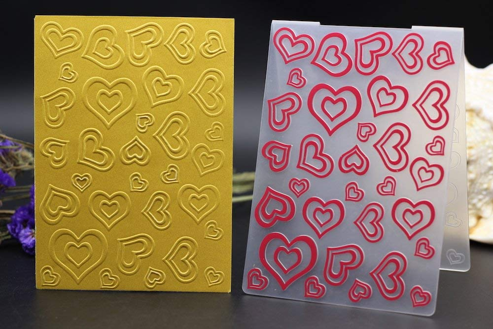 Ovoin Emboss Embossing Scrapbook Plastic Embossing Folder Sweet Heart Love Wedding DIY Scrapbook Album Card Gift Packing Decoration Cutting Dies Paper Craft