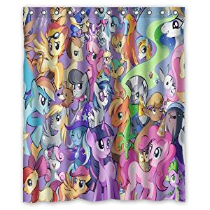 Personalized Custom Fashion Cartoon My Little Pony Shower Curtain Bathroom Decoration Mildew Waterproof Polyester Fabric