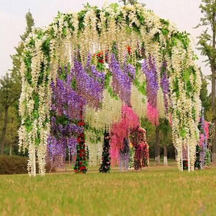 Artificial Silk Wisteria Home Garden Hanging Flowers Plants 64 Wedding Vine Decor Flower